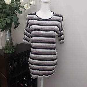 LuLaRoe High Low Black/White Striped Tunic T Shirt